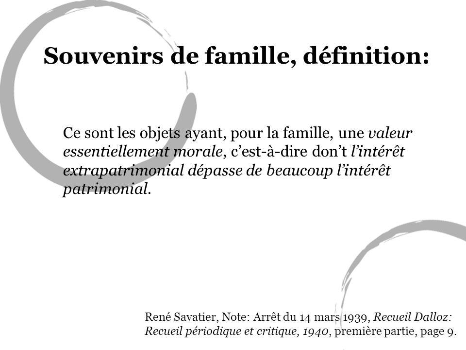 Souvenirs de famille, définition: