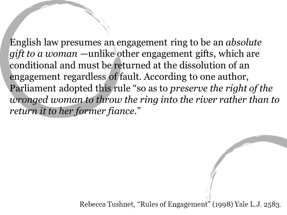 English law presumes an engagement ring to be an absolute