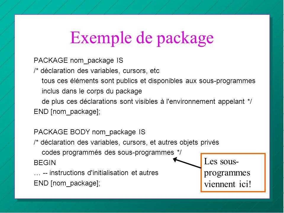 Exemple de package Les sous-programmes viennent ici!