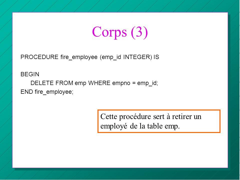 Corps (3) Cette procédure sert à retirer un employé de la table emp.