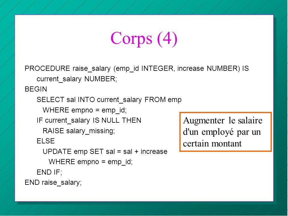 Corps (4) Augmenter le salaire d un employé par un certain montant
