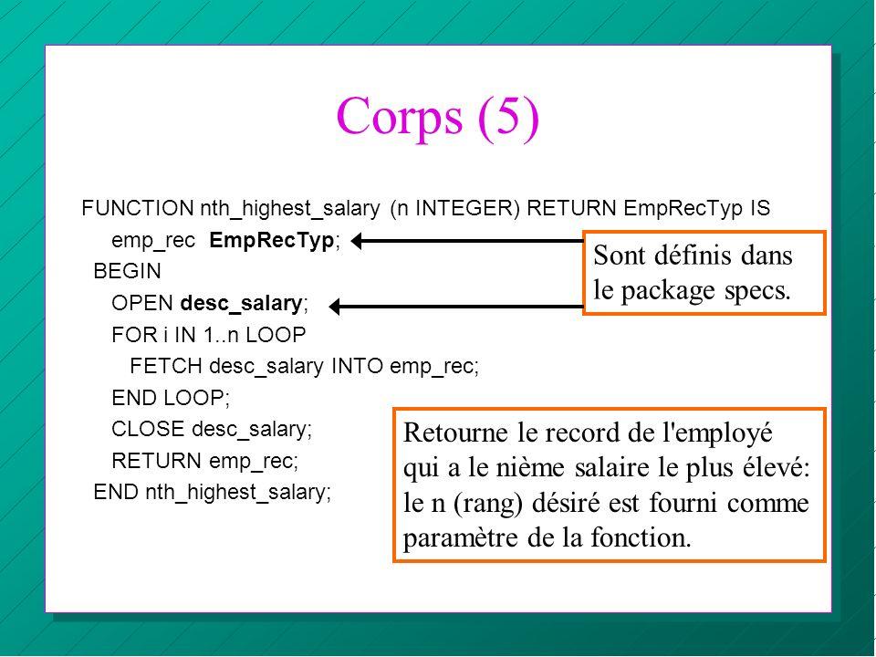 Corps (5) Sont définis dans le package specs.