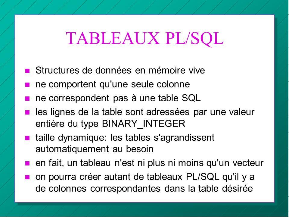 TABLEAUX PL/SQL Structures de données en mémoire vive