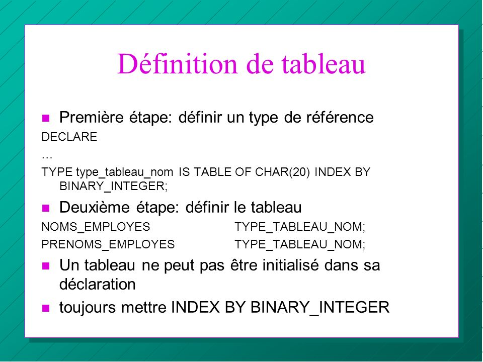 Définition de tableau Première étape: définir un type de référence