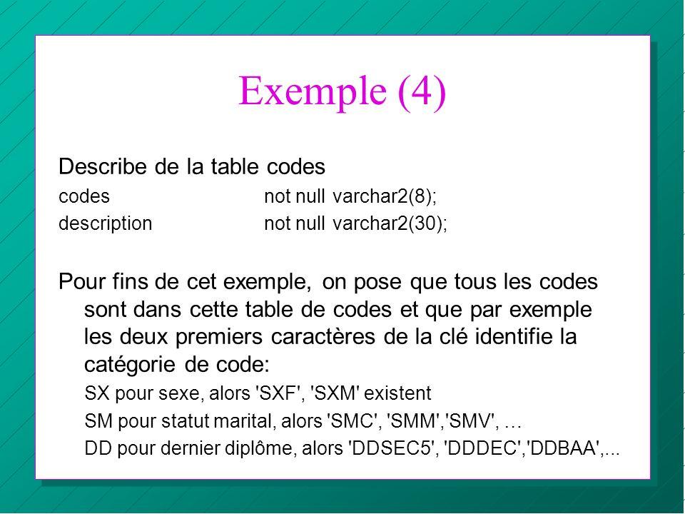 Exemple (4) Describe de la table codes