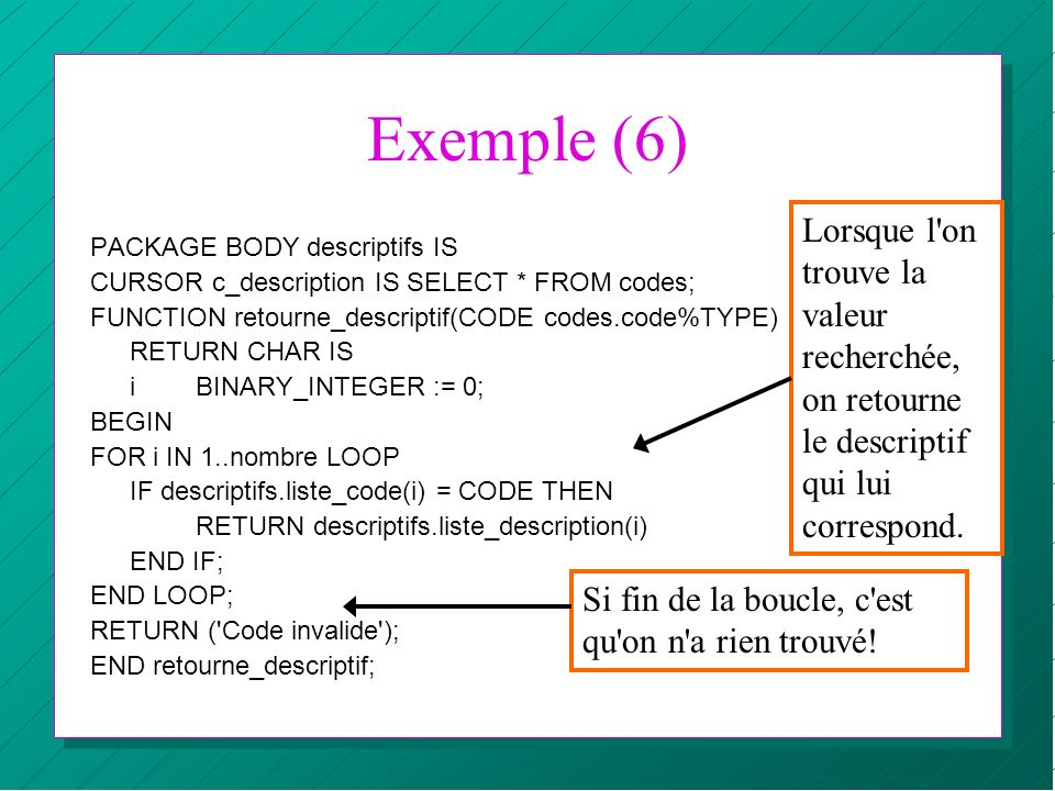 Exemple (6) Lorsque l on trouve la valeur recherchée, on retourne le descriptif qui lui correspond.