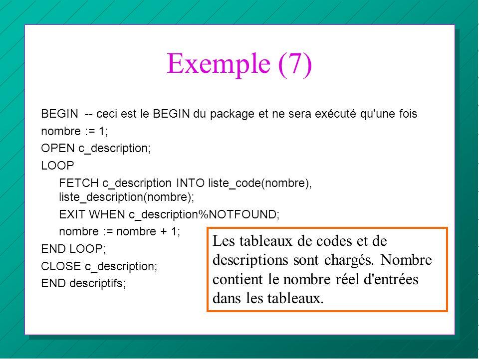 Exemple (7) BEGIN -- ceci est le BEGIN du package et ne sera exécuté qu une fois. nombre := 1; OPEN c_description;