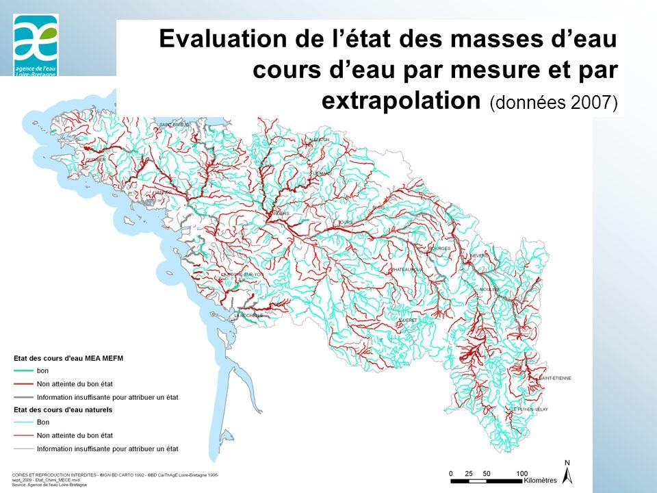 Evaluation de l'état des masses d'eau cours d'eau par mesure et par extrapolation (données 2007)