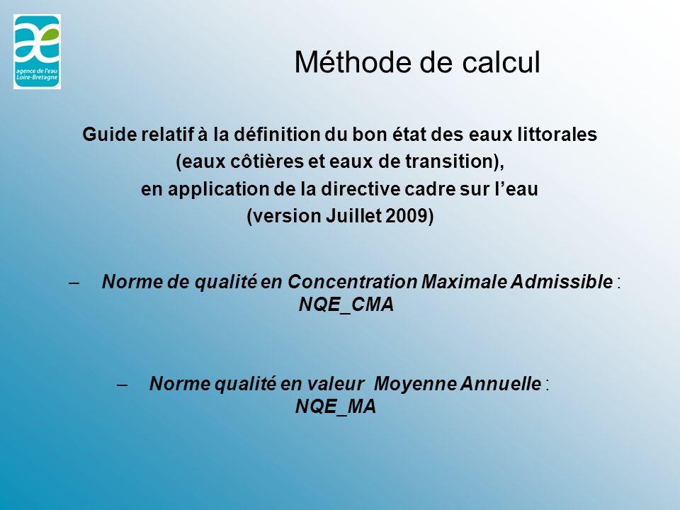 Méthode de calcul Guide relatif à la définition du bon état des eaux littorales. (eaux côtières et eaux de transition),