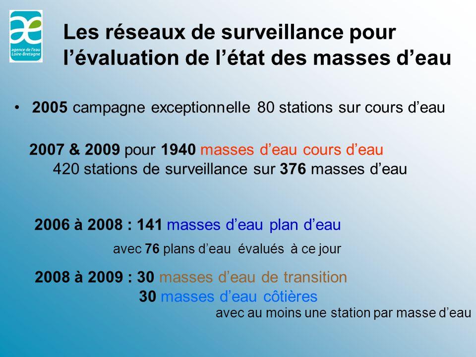 Les réseaux de surveillance pour l'évaluation de l'état des masses d'eau