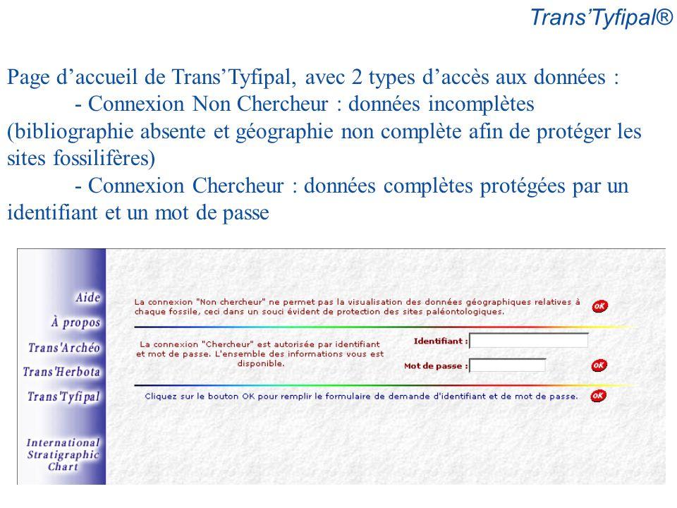 Trans'Tyfipal® Page d'accueil de Trans'Tyfipal, avec 2 types d'accès aux données :