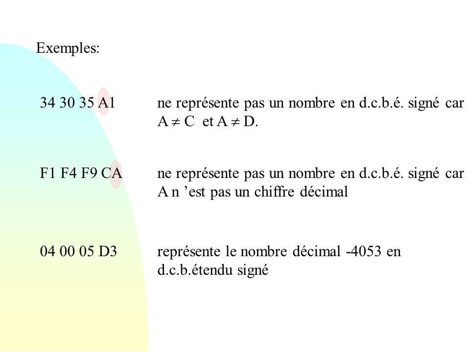 Exemples: 34 30 35 A1. ne représente pas un nombre en d.c.b.é. signé car A  C et A  D. F1 F4 F9 CA.