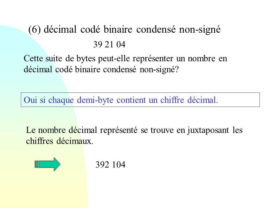 (6) décimal codé binaire condensé non-signé