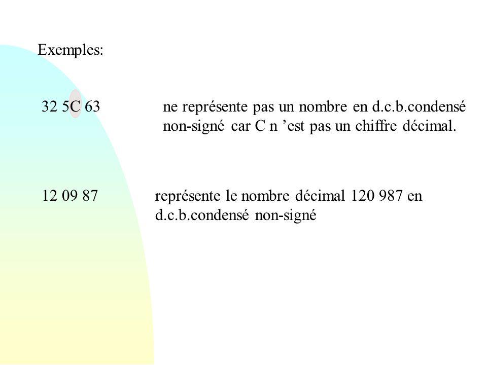 Exemples: 32 5C 63. ne représente pas un nombre en d.c.b.condensé non-signé car C n 'est pas un chiffre décimal.