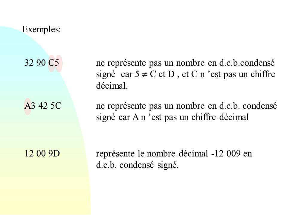 Exemples: 32 90 C5. ne représente pas un nombre en d.c.b.condensé signé car 5  C et D , et C n 'est pas un chiffre décimal.