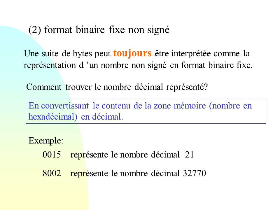 (2) format binaire fixe non signé