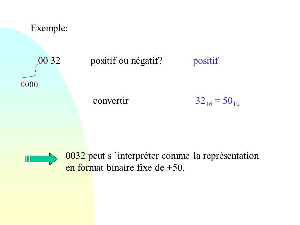 Exemple: 00 32 positif ou négatif positif convertir 3216 = 5010