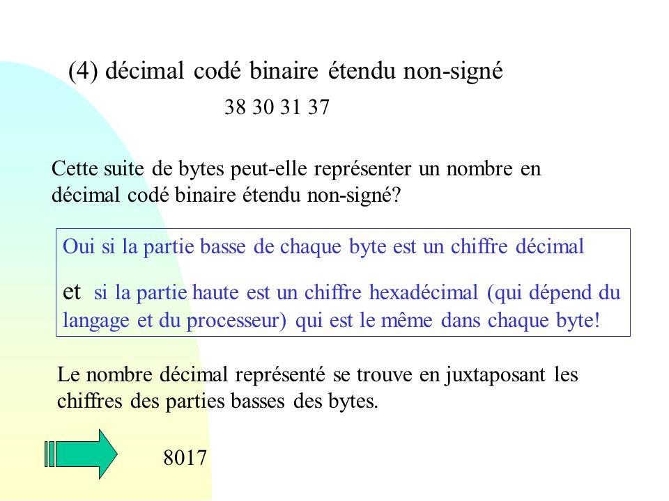 (4) décimal codé binaire étendu non-signé