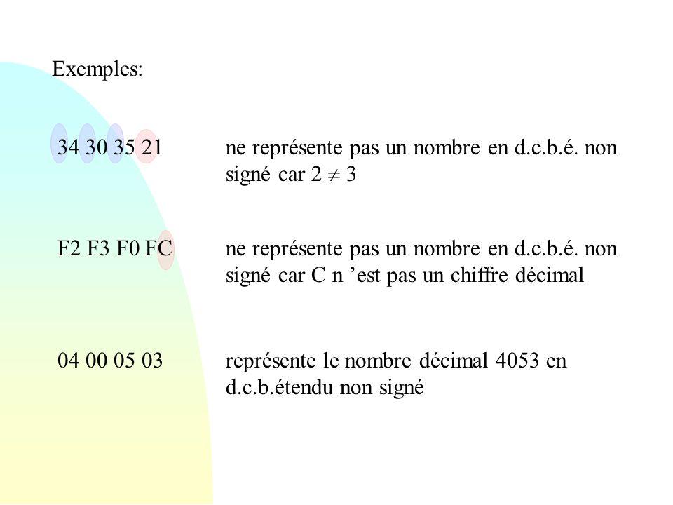 Exemples: 34 30 35 21. ne représente pas un nombre en d.c.b.é. non signé car 2  3. F2 F3 F0 FC.