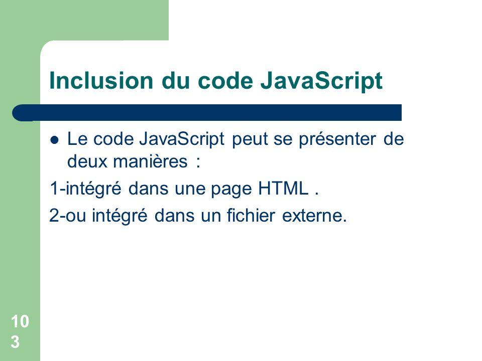 Inclusion du code JavaScript