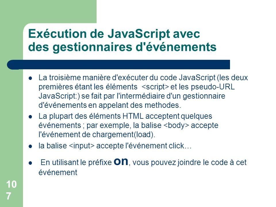 Exécution de JavaScript avec des gestionnaires d événements