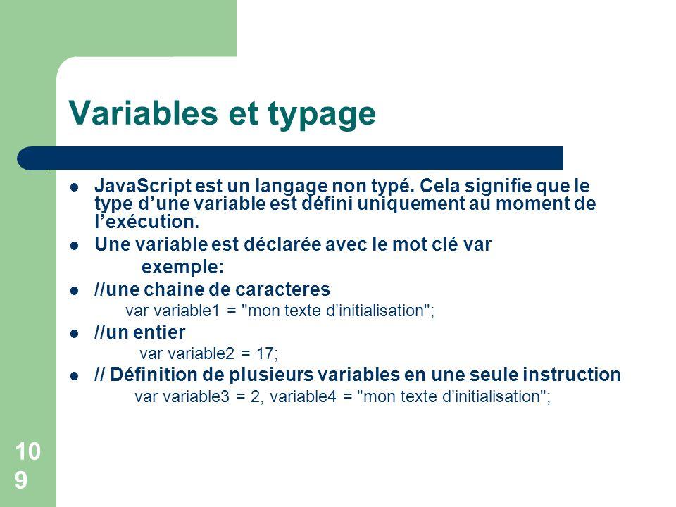 Variables et typage JavaScript est un langage non typé. Cela signifie que le type d'une variable est défini uniquement au moment de l'exécution.