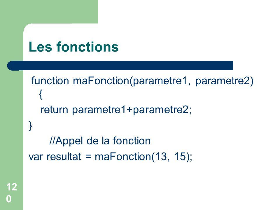 Les fonctions function maFonction(parametre1, parametre2) {