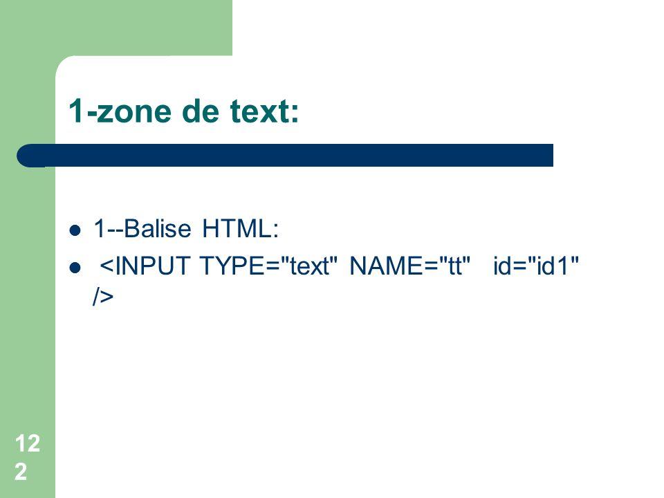 1-zone de text: 1--Balise HTML: