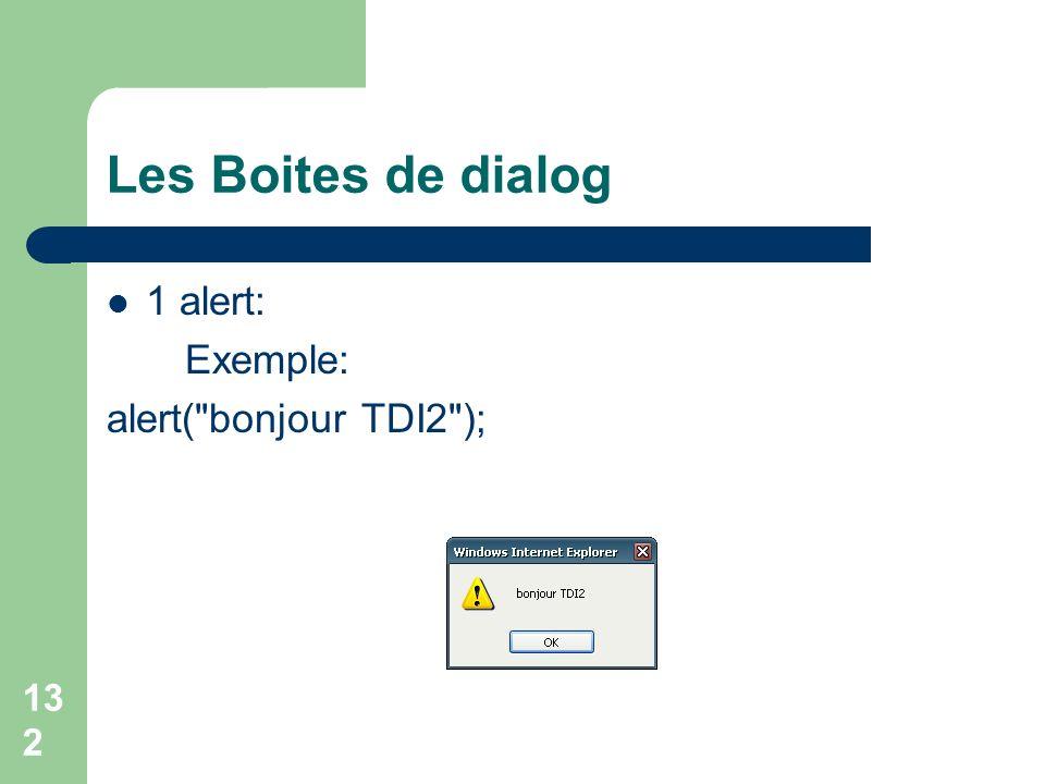 Les Boites de dialog 1 alert: Exemple: alert( bonjour TDI2 );