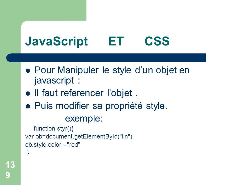 JavaScript ET CSS Pour Manipuler le style d'un objet en javascript :