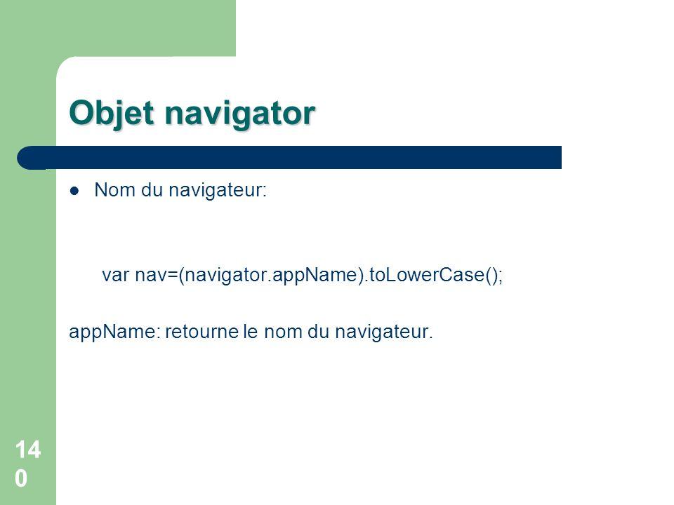 Objet navigator Nom du navigateur: