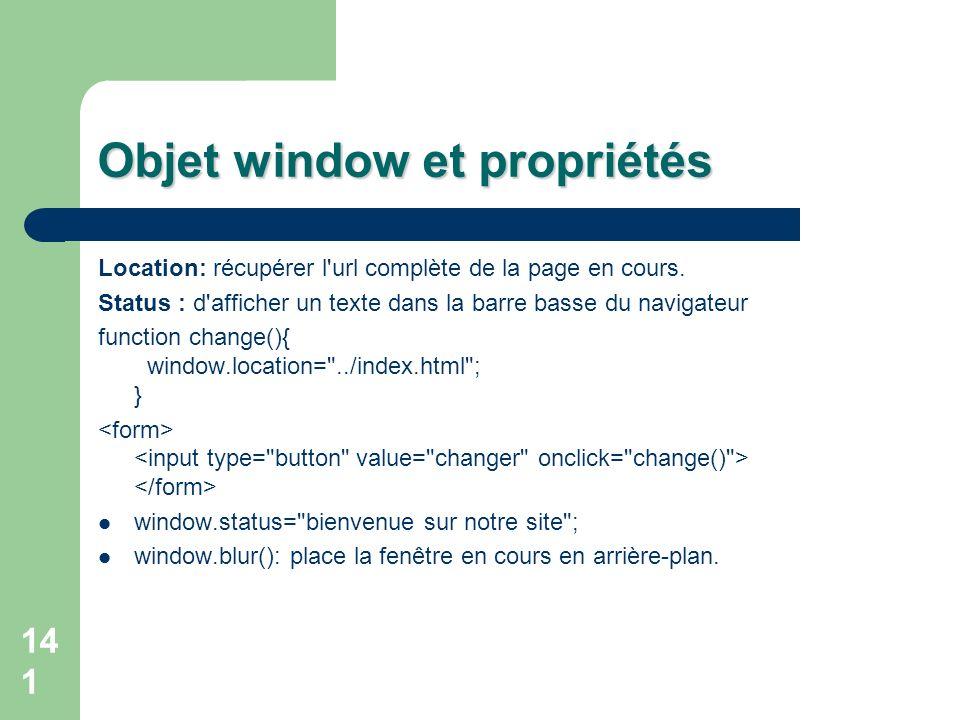 Objet window et propriétés