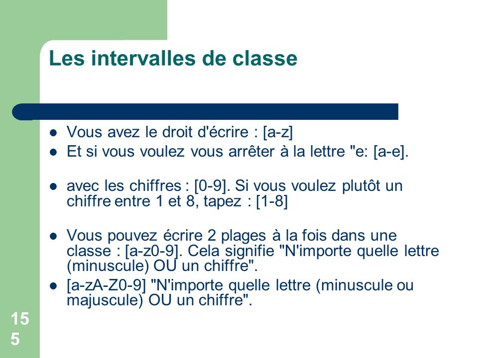 Les intervalles de classe