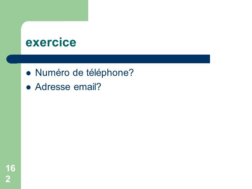 exercice Numéro de téléphone Adresse email