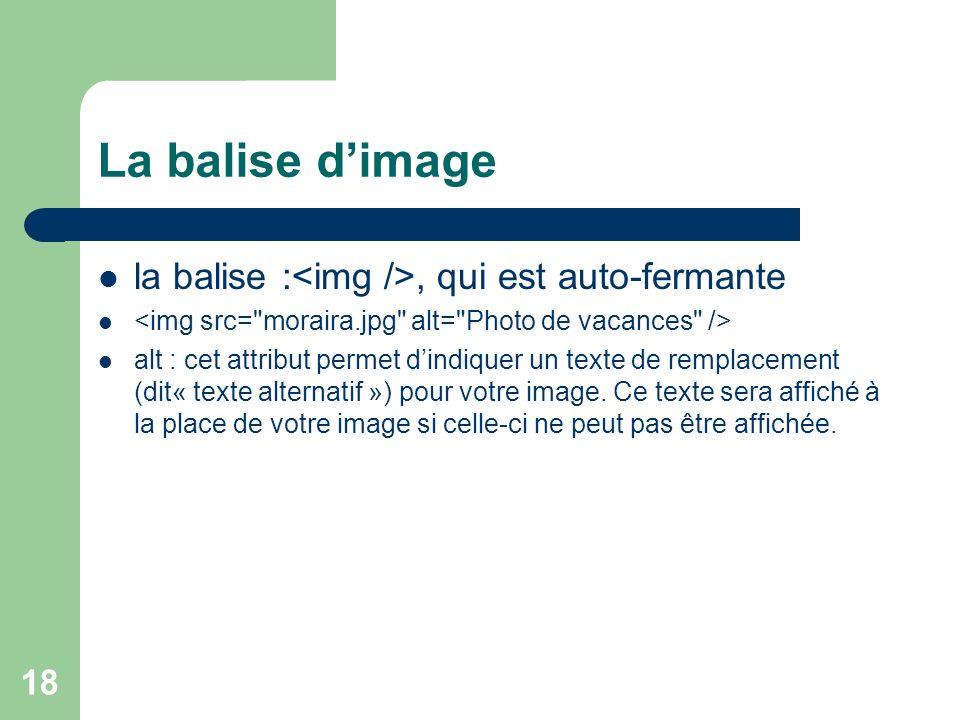 La balise d'image la balise :<img />, qui est auto-fermante