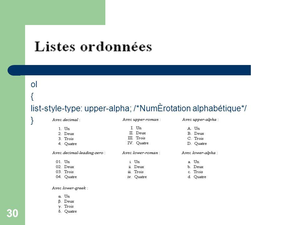 ol { list-style-type: upper-alpha; /*NumÈrotation alphabétique*/ }