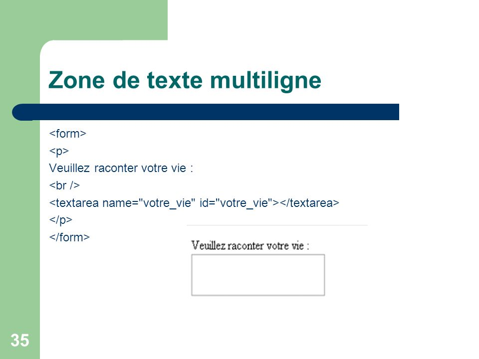 Zone de texte multiligne