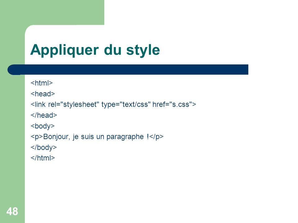 Appliquer du style <html> <head>