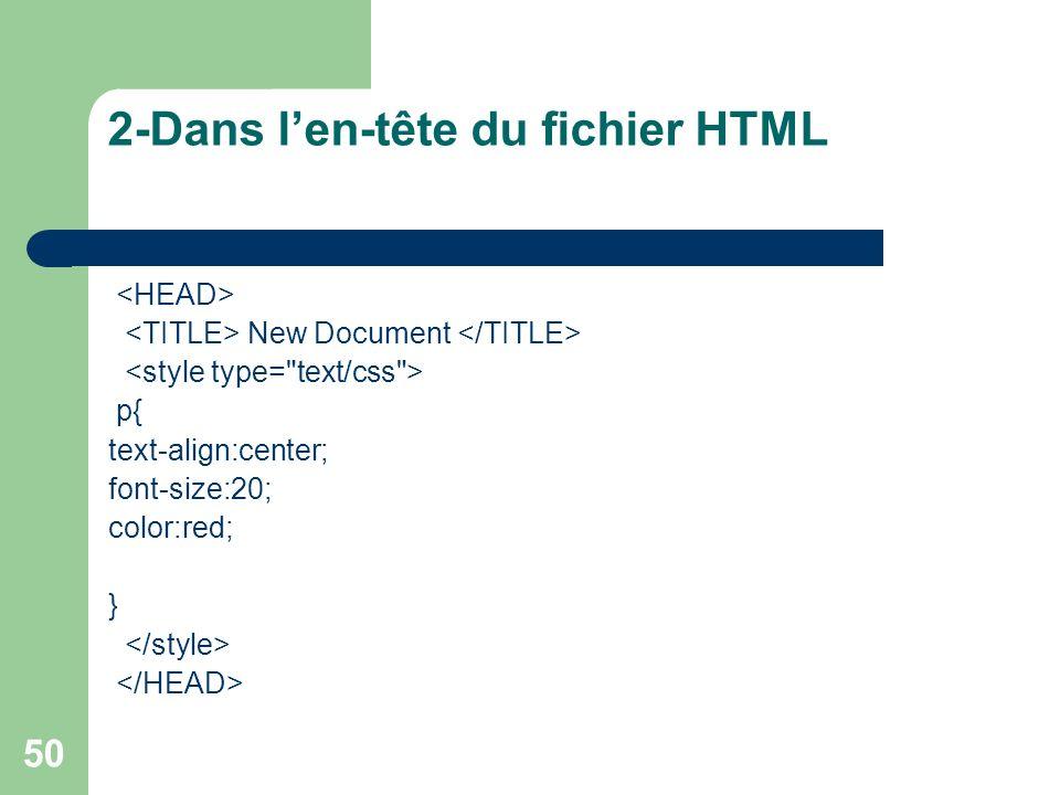 2-Dans l'en-tête du fichier HTML