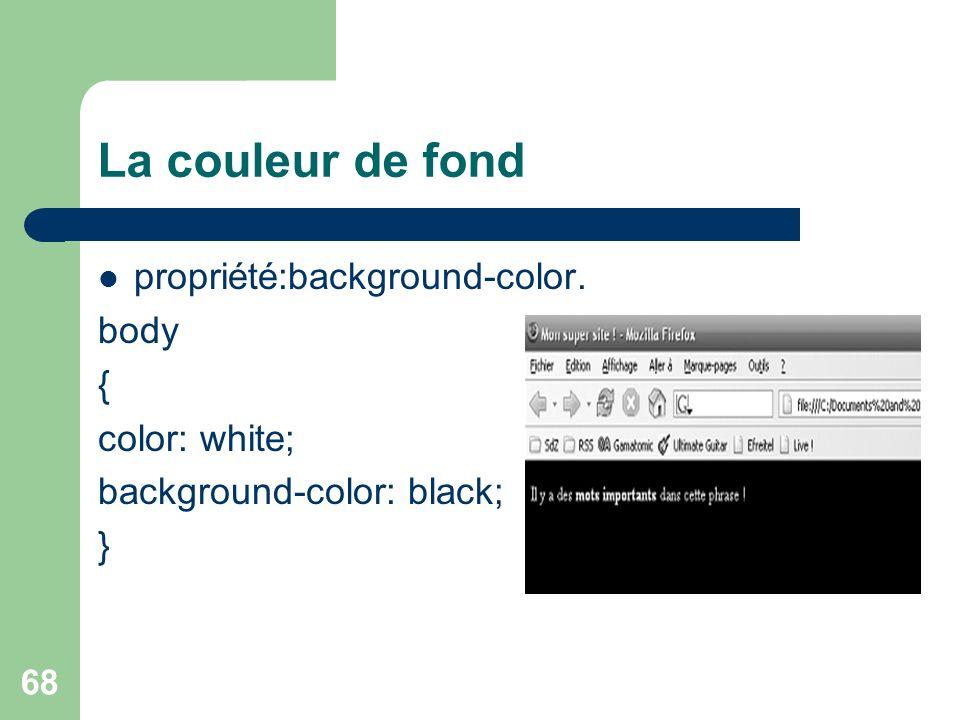 La couleur de fond propriété:background-color. body { color: white;