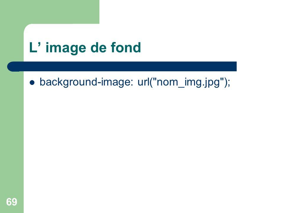 L' image de fond background-image: url( nom_img.jpg );