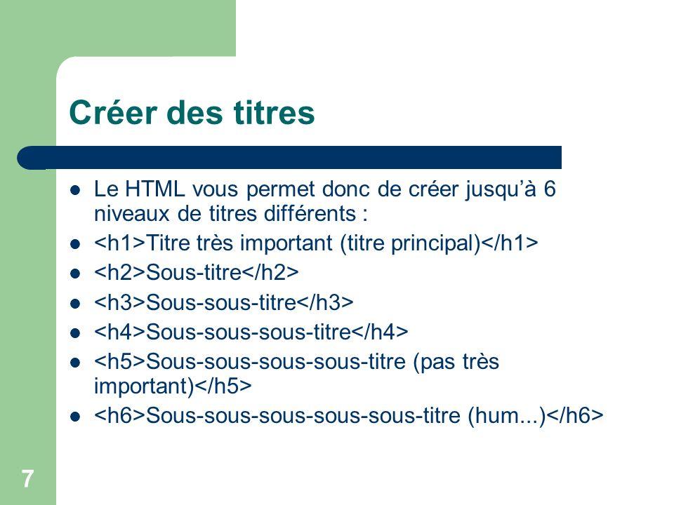 Créer des titres Le HTML vous permet donc de créer jusqu'à 6 niveaux de titres différents : <h1>Titre très important (titre principal)</h1>