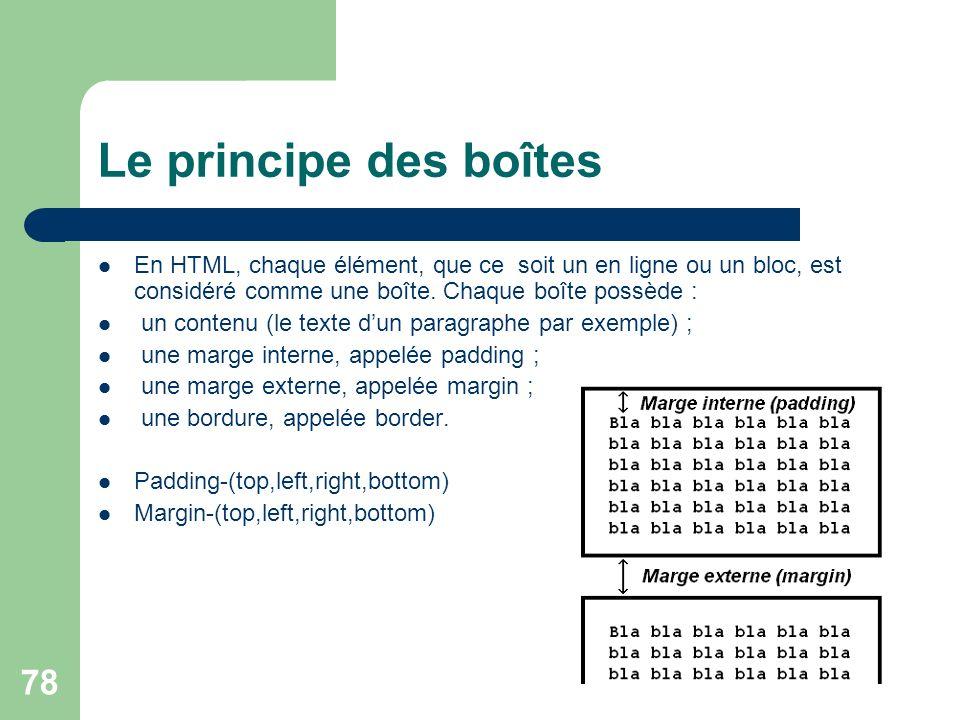 Le principe des boîtes En HTML, chaque élément, que ce soit un en ligne ou un bloc, est considéré comme une boîte. Chaque boîte possède :
