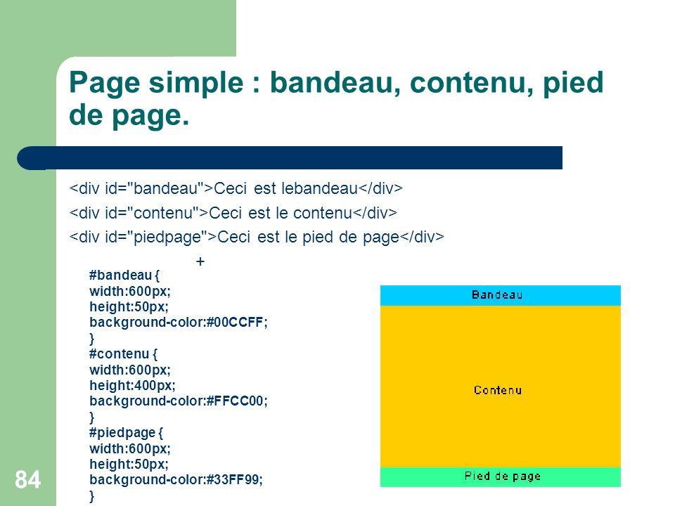 Page simple : bandeau, contenu, pied de page.