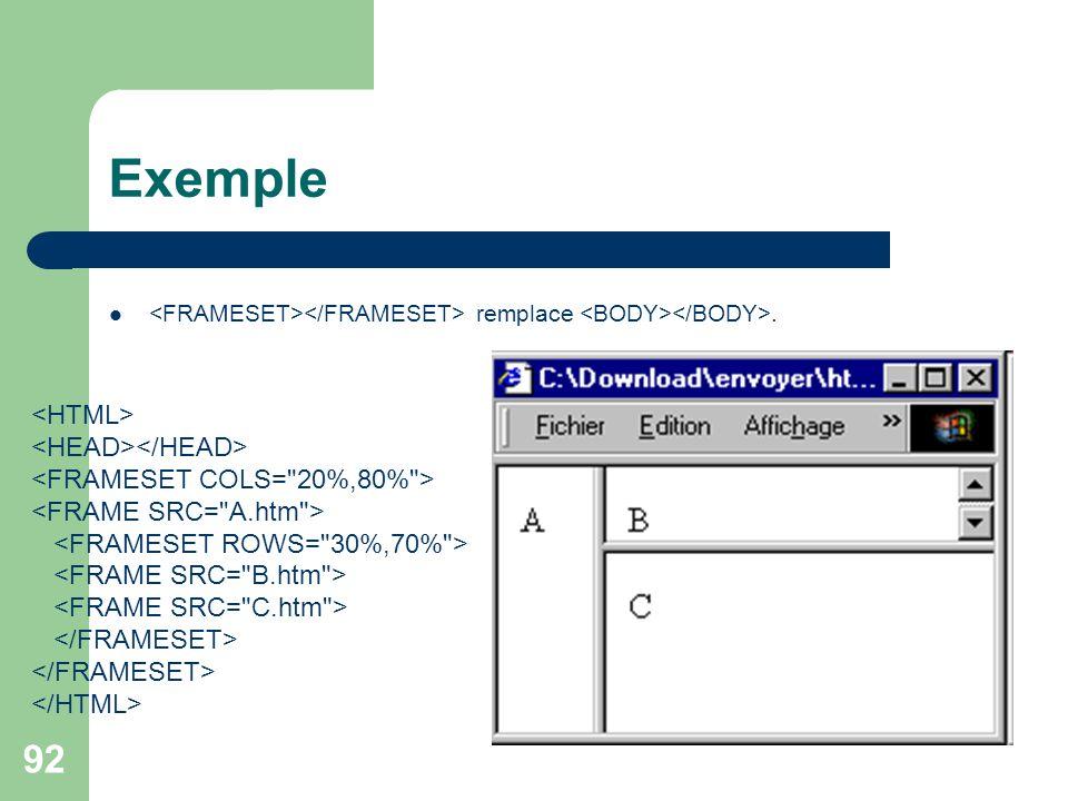 Exemple <FRAMESET></FRAMESET> remplace <BODY></BODY>.