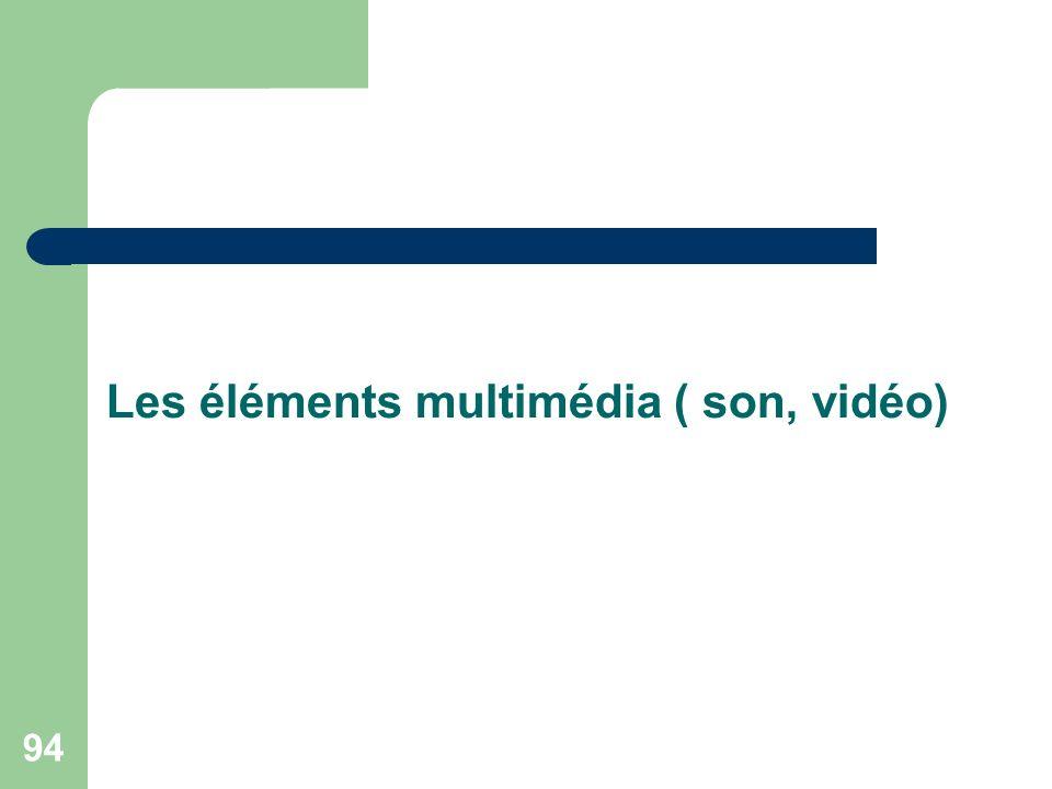 Les éléments multimédia ( son, vidéo)