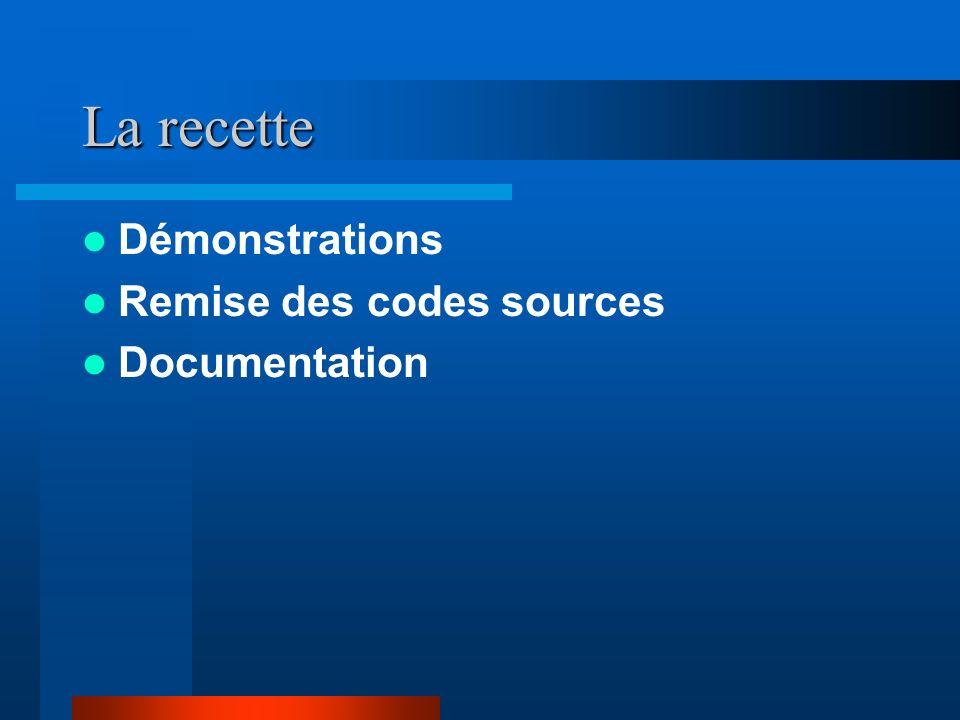 La recette Démonstrations Remise des codes sources Documentation