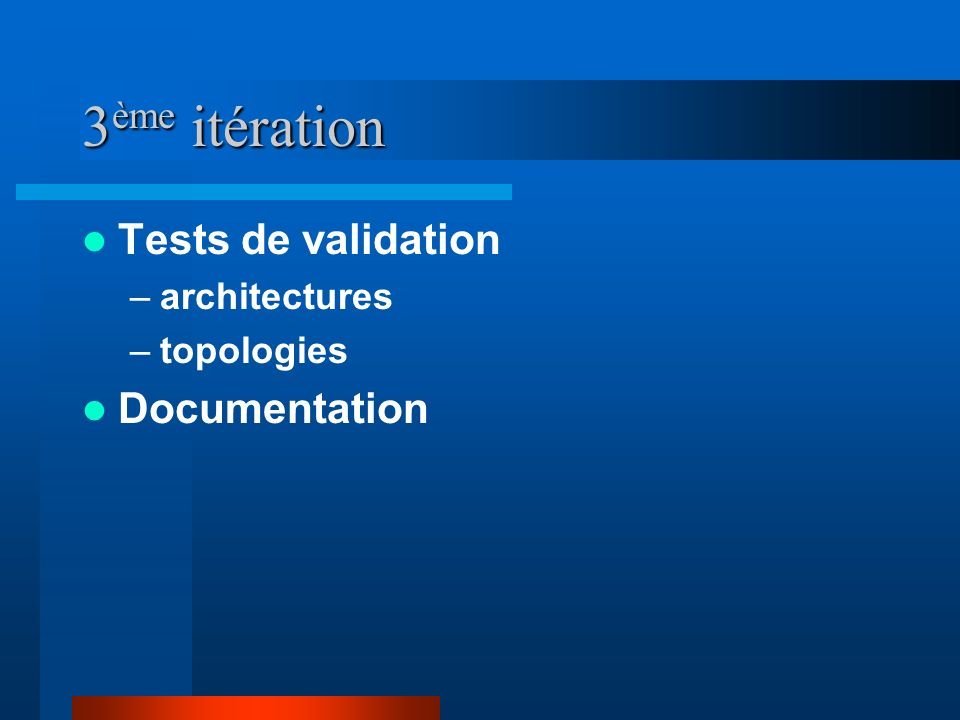 3ème itération Tests de validation Documentation architectures
