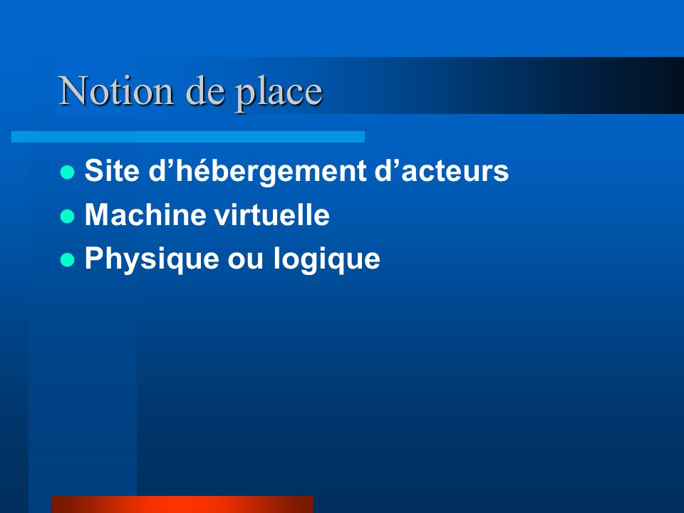 Notion de place Site d'hébergement d'acteurs Machine virtuelle
