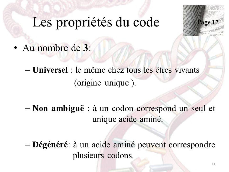 Les propriétés du code Au nombre de 3: